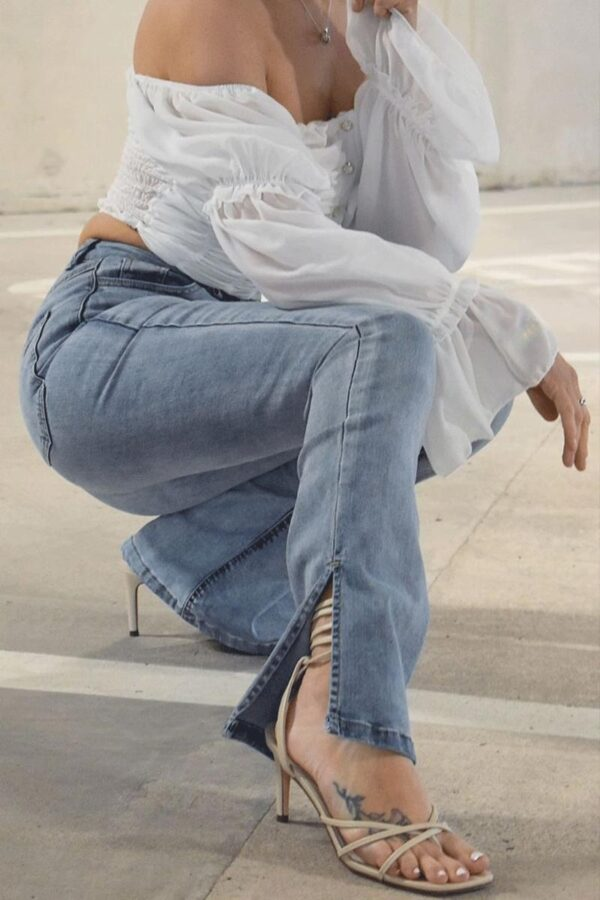 Shop Light Blue Side Slit Detail High Waist Flared Jeans and women's clothes at www.amora-shopping.com
