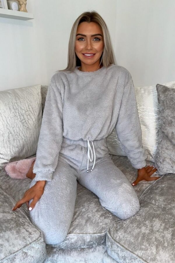 Shop Light Grey Teddy Borg Crop Top & Jogger Loungewear Set and women's clothes at www.amora-shopping.com