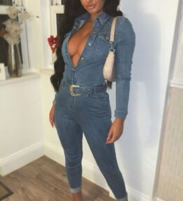 Shop Mid Blue Western Belt Detail Long Sleeve Denim Jumpsuit and women's clothes at www.amora-shopping.com