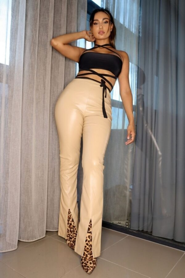 Shop Mocha Faux Leather Split Front Flare Trousers and women's clothes at www.amora-shopping.com