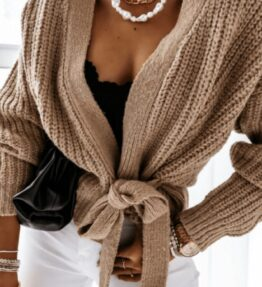 Shop Mocha Wrap Front Belted Puff Sleeve Cropped Cardigan and women's clothes at www.amora-shopping.com
