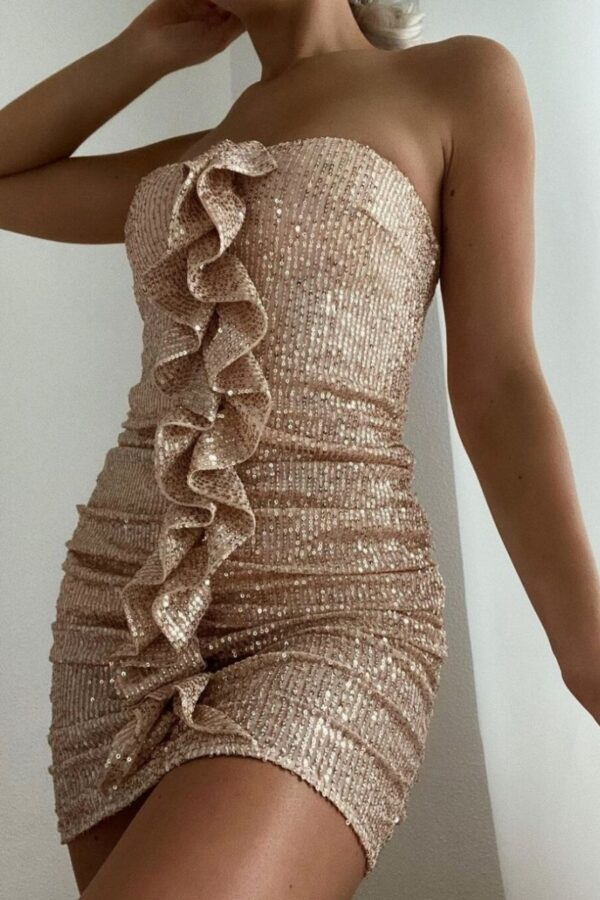 Shop Nude Sequin Frill Front Bandeau Mini Dress and women's clothes at www.amora-shopping.com