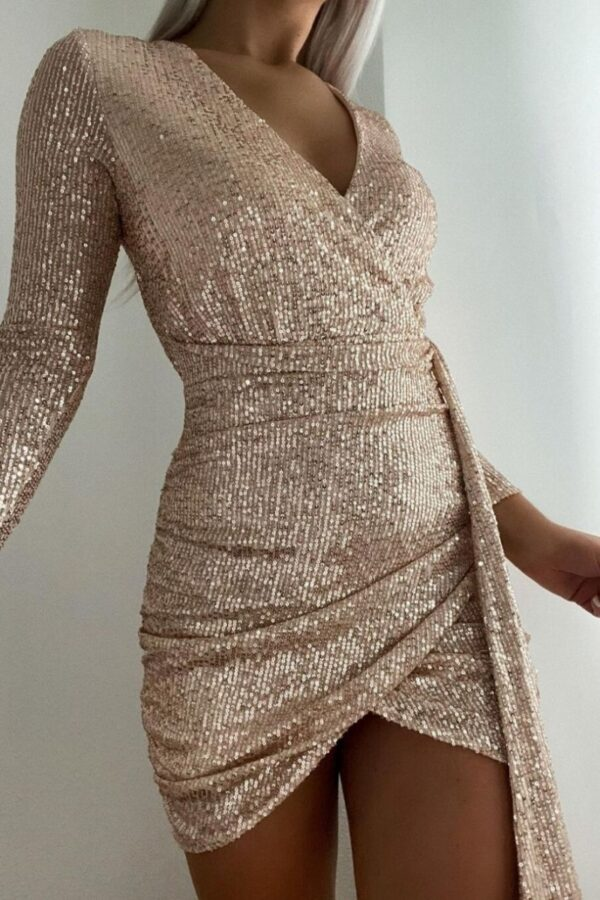 Shop Nude Sequin Tie Detail Wrapover Mini Dress and women's clothes at www.amora-shopping.com