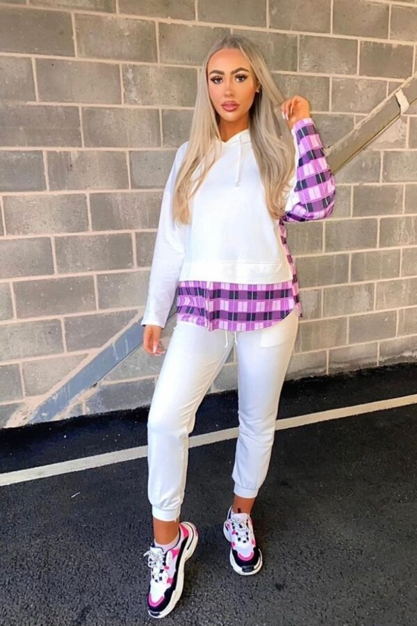 Shop Off White Contrast Checked Hoodie & Jogger Loungwear Sets and women's clothes at www.amora-shopping.com
