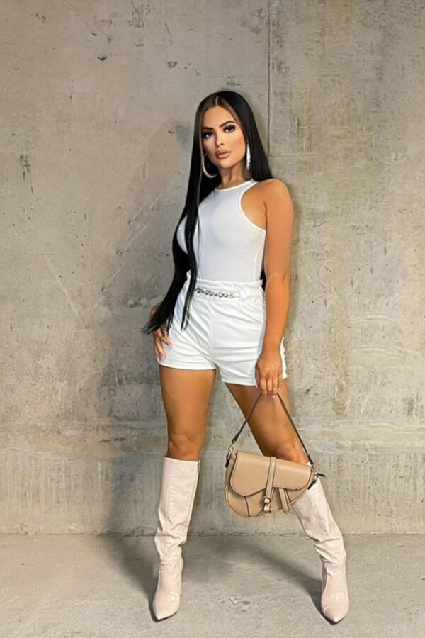 Shop Off White Faux Leather Chain Trim Shorts and women's clothes at www.amora-shopping.com