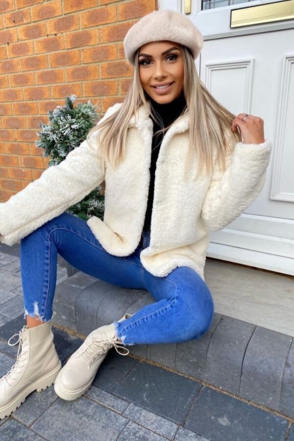 Shop Off White Faux Shearling Mid Length Jacket and women's clothes at www.amora-shopping.com