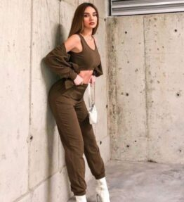 Shop Olive 3 Piece Hoody & Jogger Lounge Set and women's clothes at www.amora-shopping.com