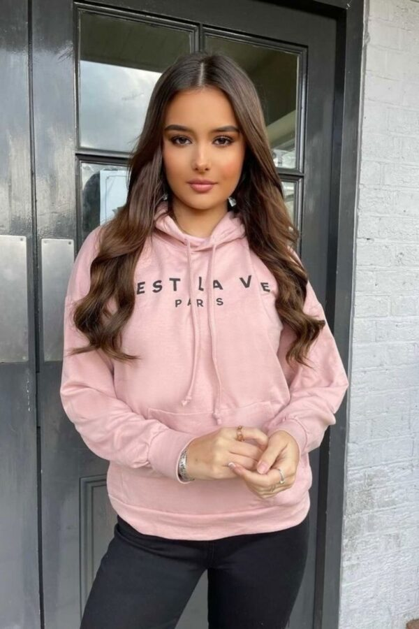Shop Pink C'est La Vie Oversized Hoodie and women's clothes at www.amora-shopping.com