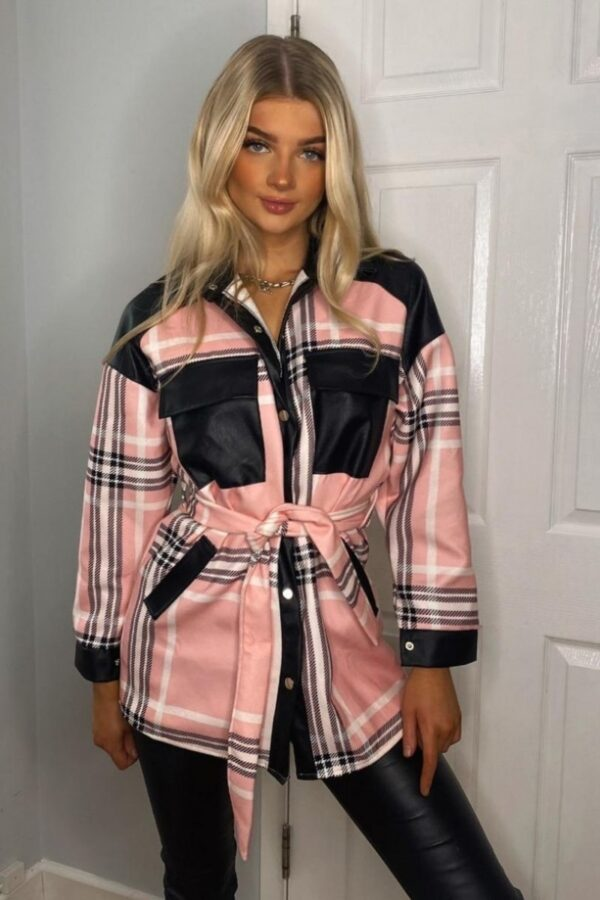 Shop Pink Checked Faux Leather Trim Belted Jacket and women's clothes at www.amora-shopping.com