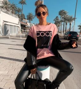 Shop Pink Coco Print Oversized Sweatshirt and women's clothes at www.amora-shopping.com
