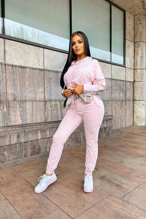 Shop Pink Contrast Checked Hoodie & Jogger Lounge Set and women's clothes at www.amora-shopping.com