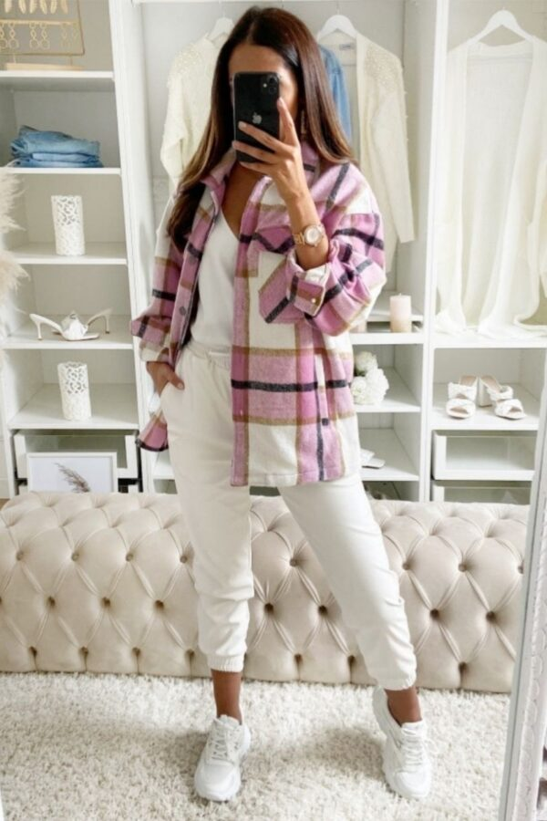 Shop Pink Oversized Checked Patch Pocket Shacket and women's clothes at www.amora-shopping.com