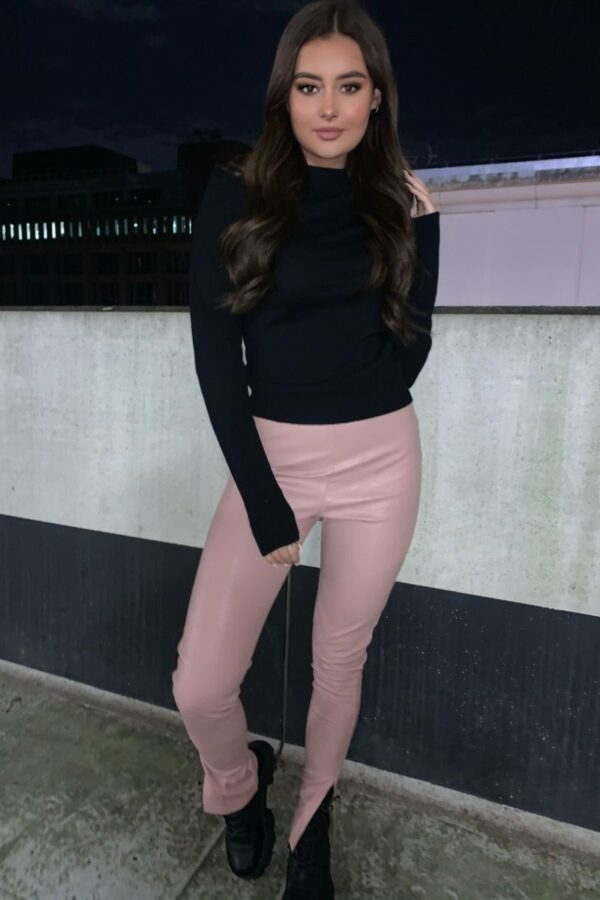 Shop Rose Faux Leather High Waist Side Split Hem Jeggings and women's clothes at www.amora-shopping.com