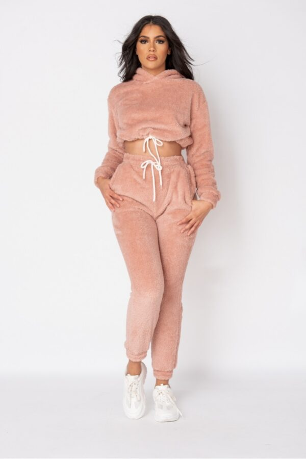 Shop Rose Teddy Borg Cropped Hoodie & Jogger Lounge Set and women's clothes at www.amora-shopping.com