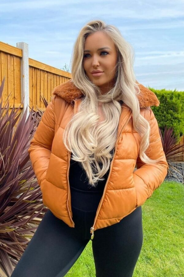Shop Rust Faux Fur Collar Padded Puffa Jacket and women's clothes at www.amora-shopping.com