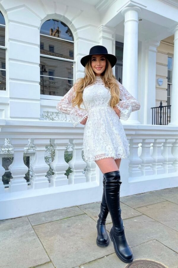 Shop White Lace High Neck Balloon Sleeve Mini Dress and women's clothes at www.amora-shopping.com