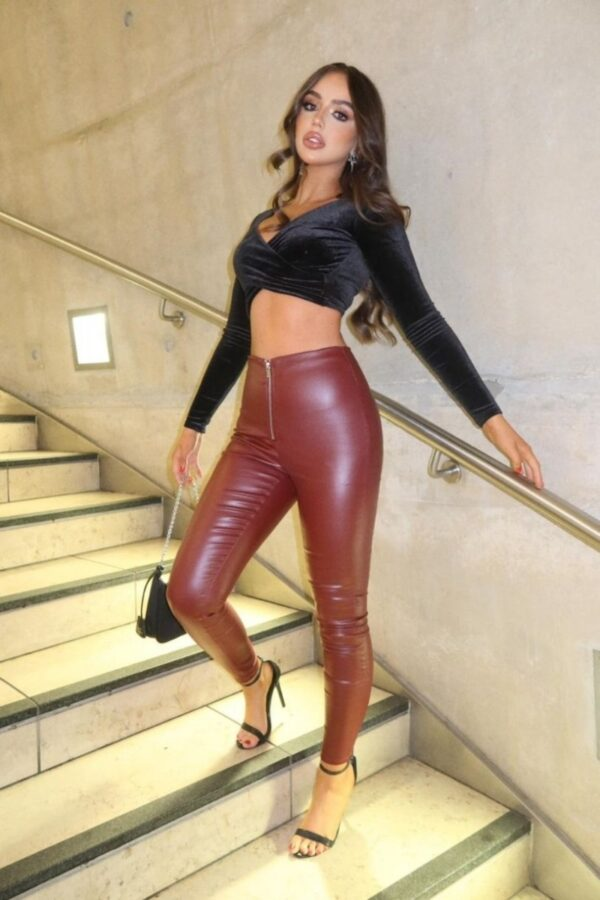 Shop Wine Coated Exposed Zip Skinny Trousers and women's clothes at www.amora-shopping.com