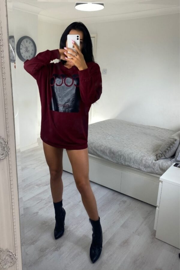 Shop Wine Coco Print Oversized Sweatshirt and women's clothes at www.amora-shopping.com