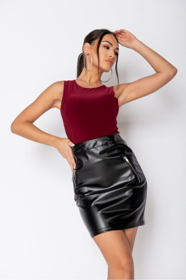 Shop Wine Double Layer Slinky Bodysuit and women's clothes at www.amora-shopping.com