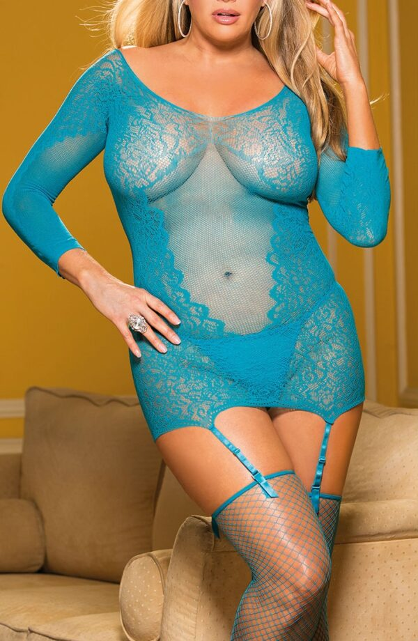 woman's clothes and STRETCH LACE AND MESH 3 PIECE SET Stretch Lace and Mesh 3 PIECE SET. Set includes Long Sleeve GARTERED CHEMISE with adjustable garters  Fishnet STOCKINGS and comes with a G-STRING. COLORS: Black  Turquoise. One Size fits most. Comes Packaged. Also available in Plus Size. at www.amora-shopping.com