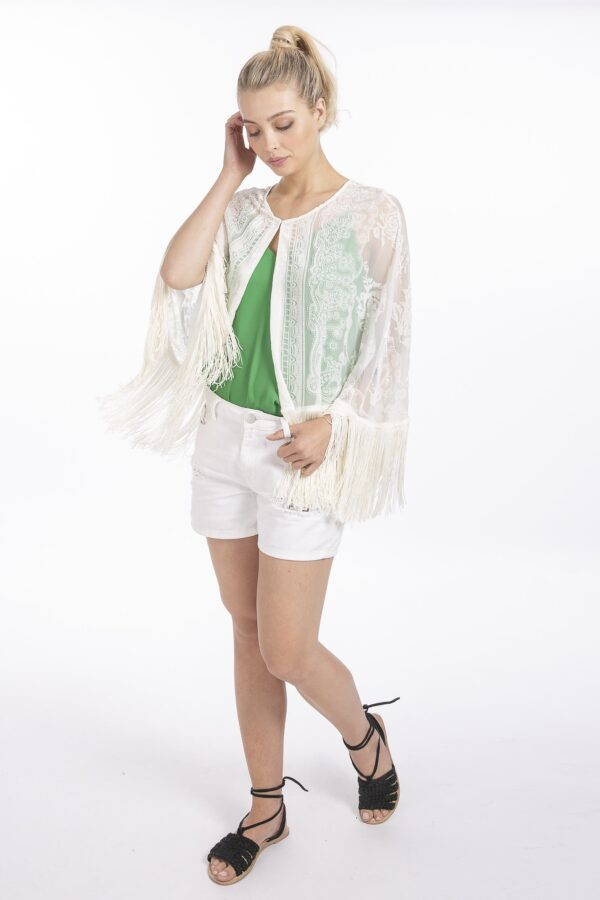 Shop Silk Devore Capes at www.amora-shopping.com and discover A stunning example of a silk devore cape with single fastening finished with statement oversized tonal matching fringing. Perfect as a formal finishing piece or for Cruise Wear.