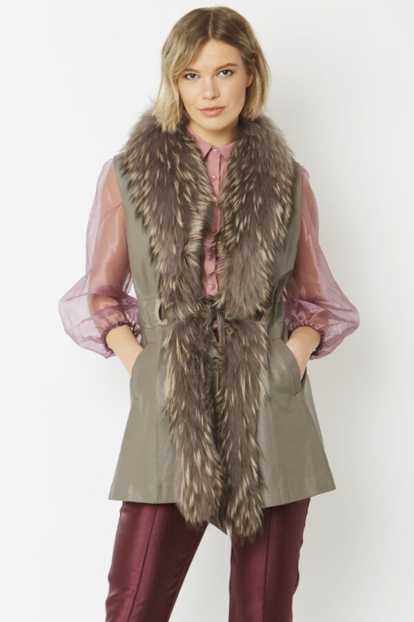 Shop Fox Fur and Leather Gilets at www.amora-shopping.com and discover Luxurious leather gilet with detachable fox fur collar.