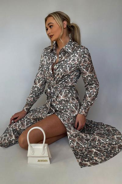 Shop Silk Blend Paisley Print Shirt Dressees and women's clothes at www.amora-shopping.com