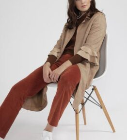 Shop Faux Suede Jacket with Frill Sleeve at www.amora-shopping.com