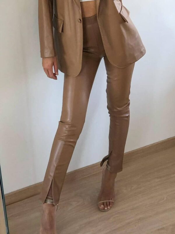 Shop Sculpture - Camel Faux Leather Trousers With Front Spli at www.amora-shopping.com