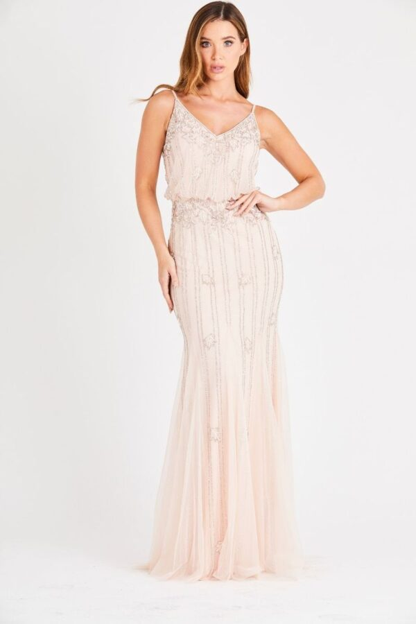 Shop bridesmaid dresses at Amora Shopping. This beautifully beaded blush pink bridesmaid dresses withspaghetti straps that can be adjusted for the perfect fit. Blouson-style maxi dress with a beautiful sheer overlay.