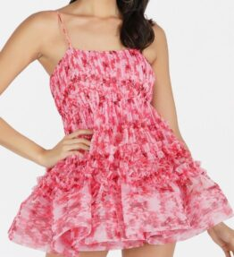 Bethan Tulle Mini Dress in Red Floral Print