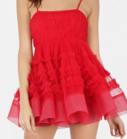 Bethan Tulle Mini in Red