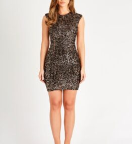 Black and Copper Sequin Backless Mini Dress