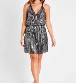 Black and Silver Beaded Dress