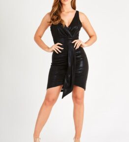 Black Mini Dress with Front Panel