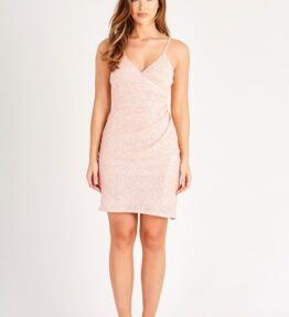 Pink Ruched Sequin Mini Dress