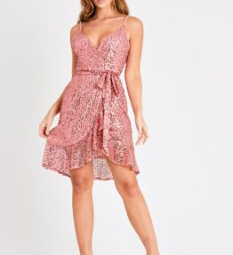 Pink Sequin Wrap Dress with belt