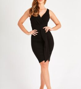 Pretty Black Dress with Front Frill