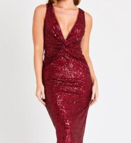 Red knotted sequin dress
