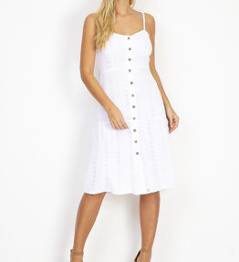 Shop Midi broderie buttoned dress with tie back detail at www.amora-shopping.com