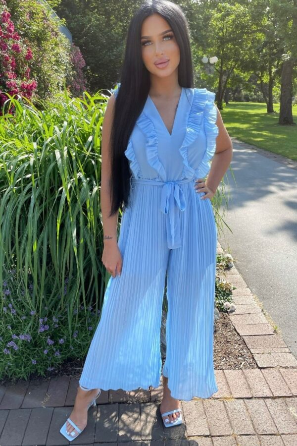 Shop Blue Frill Detail Plisse Pleat Wide Leg Jumpsuits at Amora Shopping. Jumpsuits are without a doubt