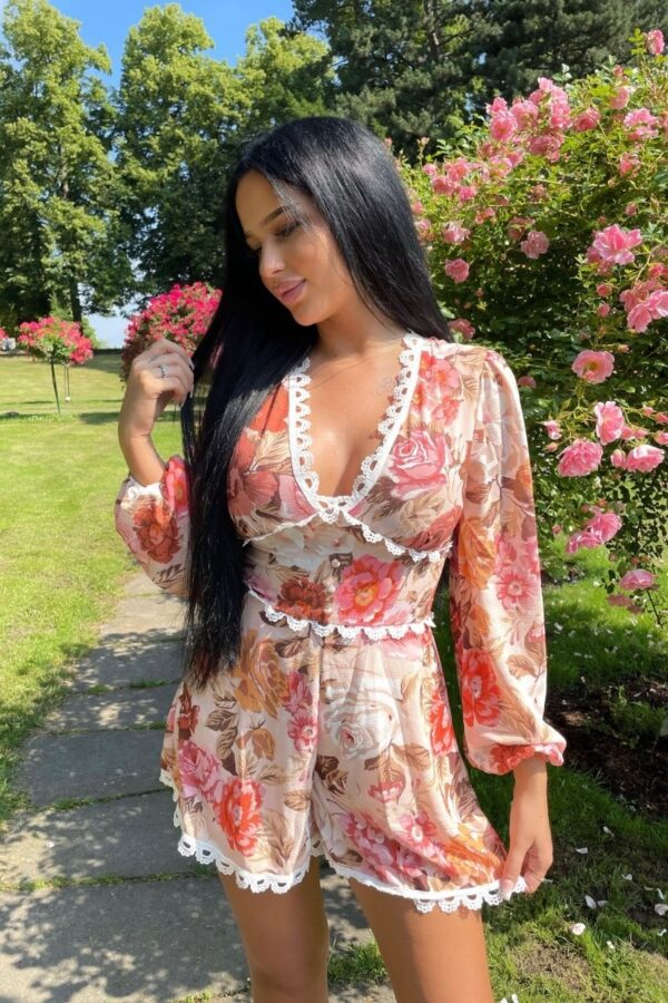 Shop Nude Floral Lace Trim Balloon Sleeve Playsuits at Amora Shopping. Playsuits are a style staple. For all-in-one styling