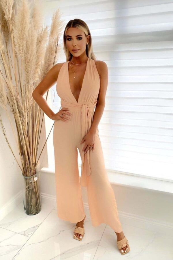 Shop Nude Halterneck Wide Leg Jumpsuits at Amora Shopping. Jumpsuits are without a doubt