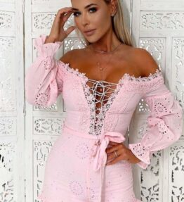 Shop Pink Broderie Anglaise Lace Up Bardot Playsuits at Amora Shopping. Playsuits are a style staple. For all-in-one styling